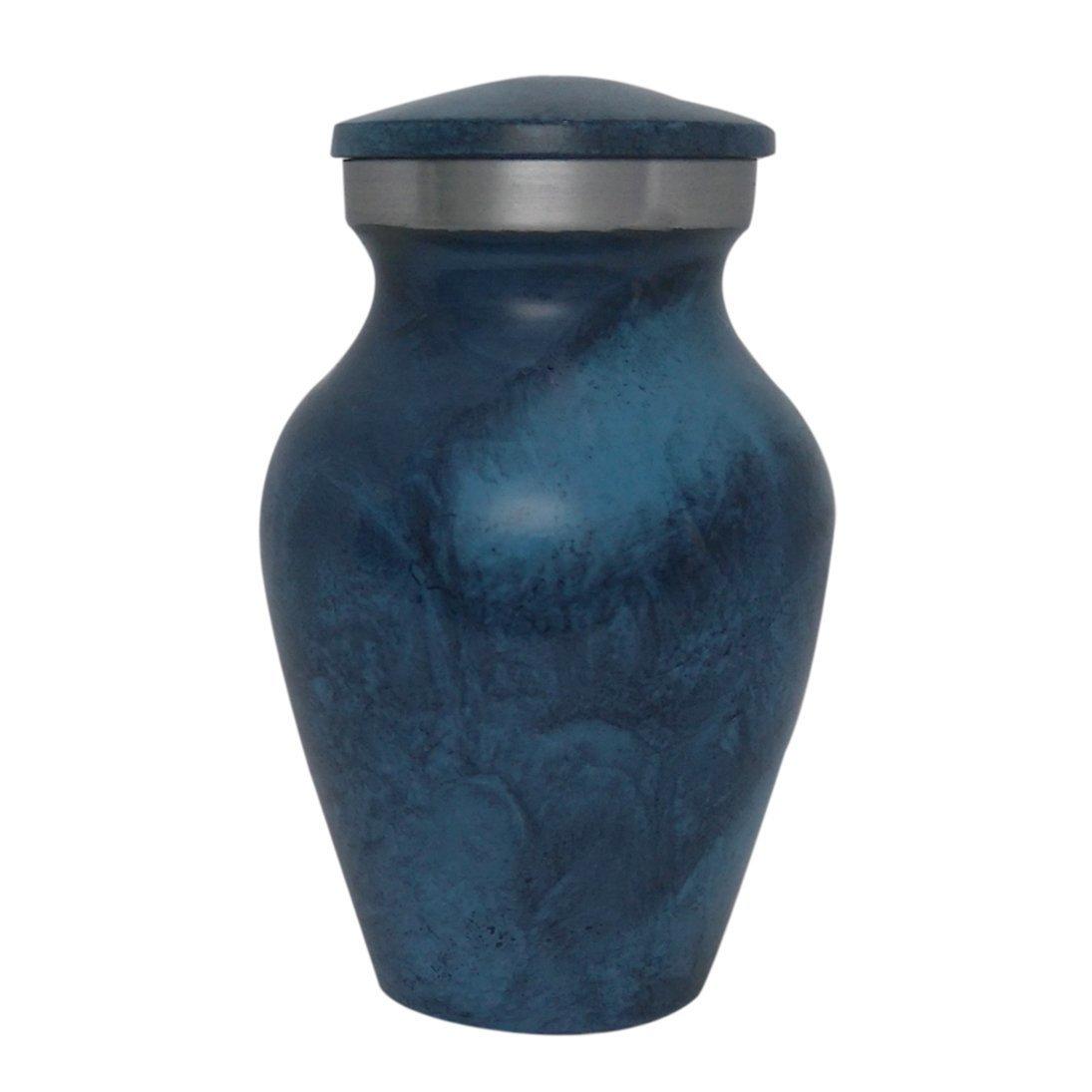 Aluminium Deep Blue Keepsake Urn for Ashes, Best Price Mini Urn
