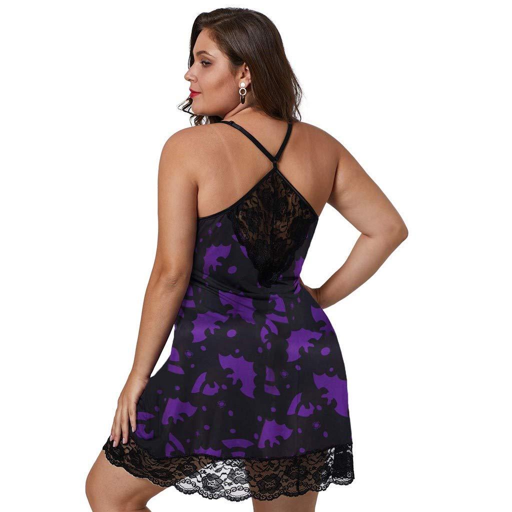 Reooly Ropa Interior de Encaje para Mujer Cuello en V Profundo Pijama de Gran tama/ño Ropa Interior Vestido Tanga camis/ón