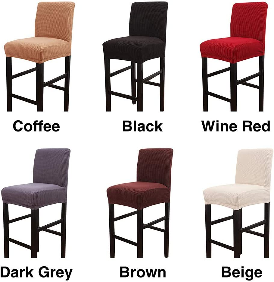 Amusingtao Stool Chair Dining om Home Washable Bar Furniture Removable Reusable Dustproof Slipcover Full Protection Restaurant Stretch Pub Counter Multifunction(Brown) Dark Grey