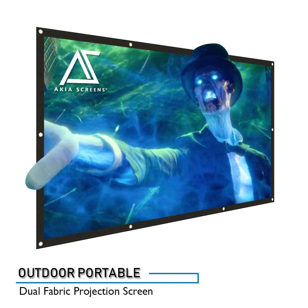 """Akia Screens 120 inch Outdoor Portable Projector Screen Collapsible 16:9  Anti-Crease Foldable Dual Front Rear Retractable 120"""" Movie Theater"""