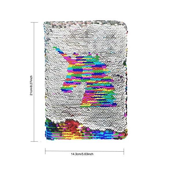 Exerz Taccuino di Paillettes Reversibile A5/ Diario con Paillettes Mermaid/ Diario della Sirena / Blocco Note Magico… 2 spesavip