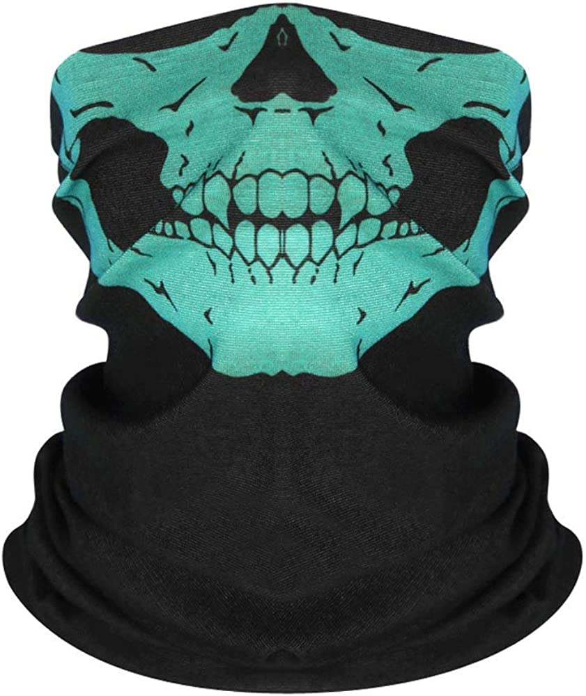 Seamless Neck Gaiter Shield Scarf Bandana Face Mask Seamless UV Protection for Motorcycle Cycling Riding Skull Face Mask