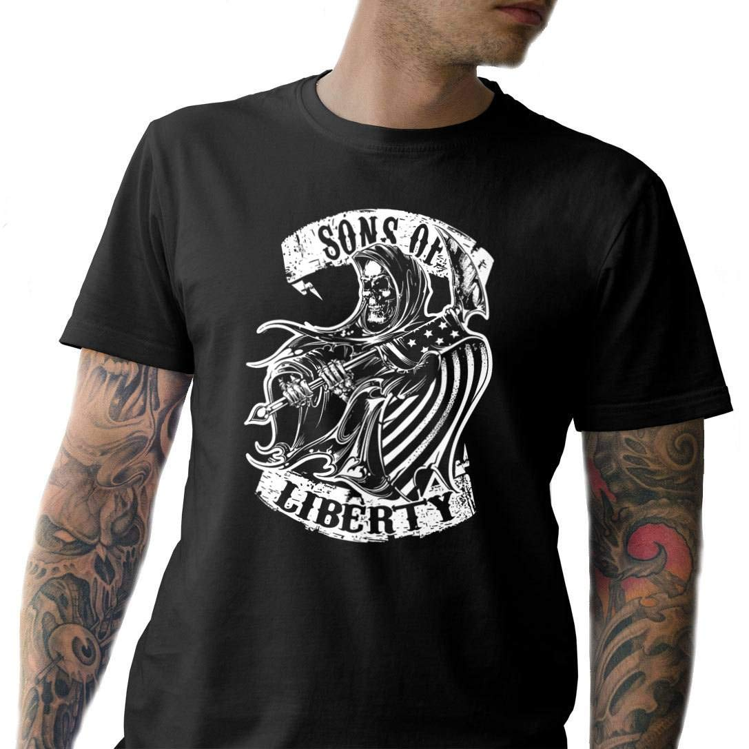 Sons Of Liberty Reaper T-Shirt Front Print Made in USA.