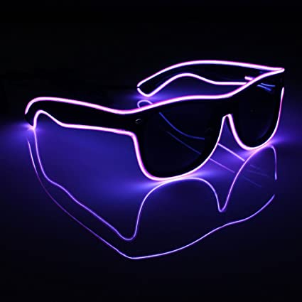 6cc442f097 Image Unavailable. Image not available for. Color  Acamifashion Light up El  Wire Neon Rave Glasses Glow Flashing LED ...