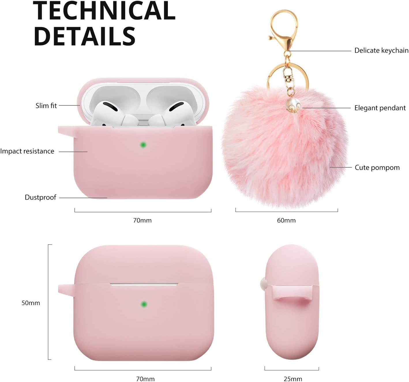 Gray BLUEWIND Newest Cute Air Pods Silicone Case Airpods Accessories Keychain//Pom Pom//Strap Airpods Pro Case Cover 2019 Release Airpod Pro Protective Case for Apple Airpods Pro Charging Case