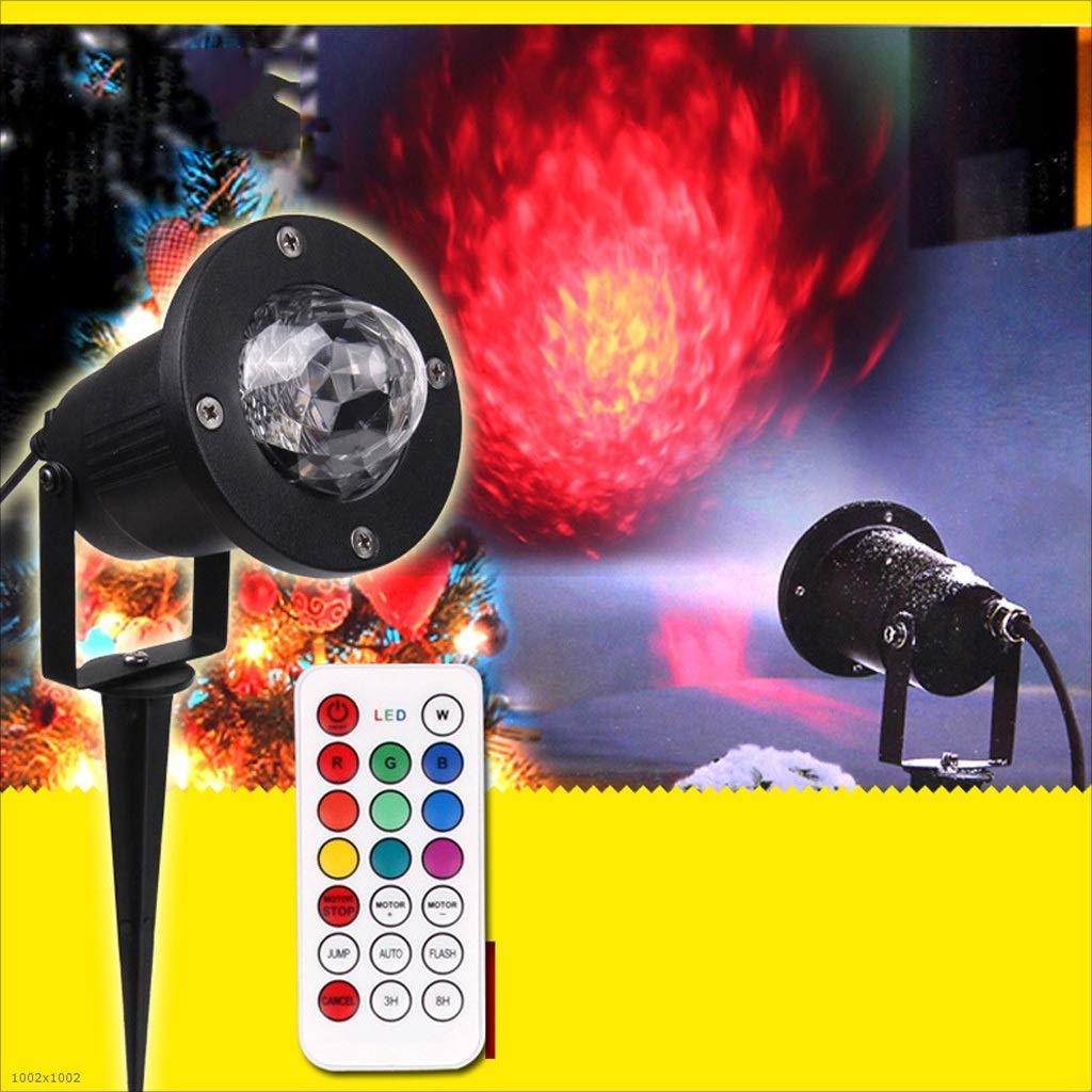 RXY-(^_^) Stage Lighting Outdoor Ocean Projection Light-LED Pattern Light Remote Control 7 Color Flame Lamp