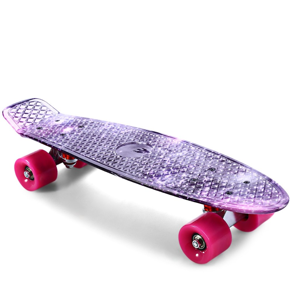 SZYT 22 inch four wheel skating printed fish plate single rocker children skateboard dance board CL-95 purple starry sky by SZYT (Image #4)