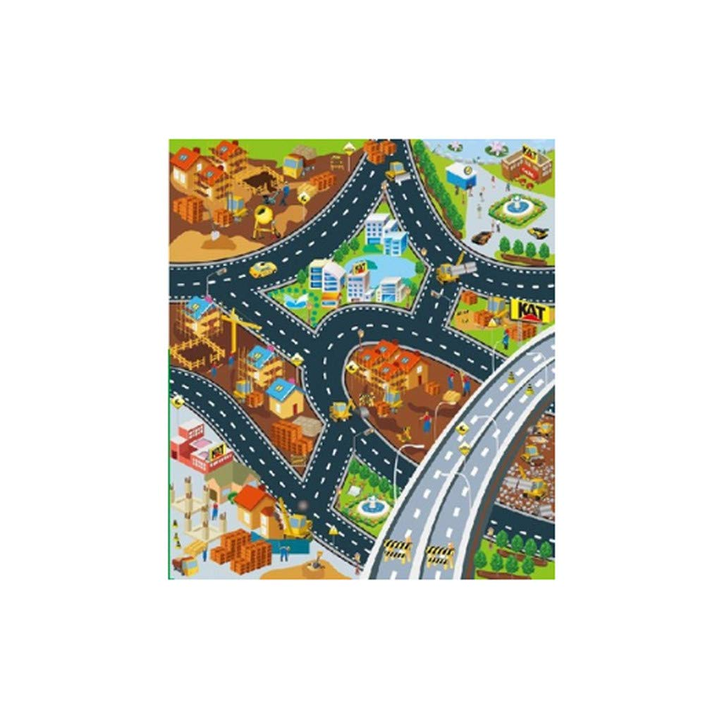 Baulody Kid Rug Car Playmat with Roads and Train Tracks,Car Play Mat for Boys and Girl,City Play Rug with Toy Cars Great for Playing,Gift Idea Set for Children (Multicolor)