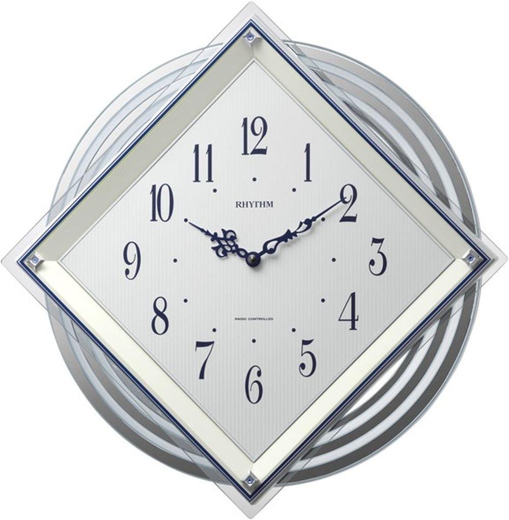 リズム時計 掛け時計 電波 アナログ ビュレッタ 背面丸型 振り子 クリスタル 飾り付き 白 RHYTHM 4MX405SR03 B0194F89TK
