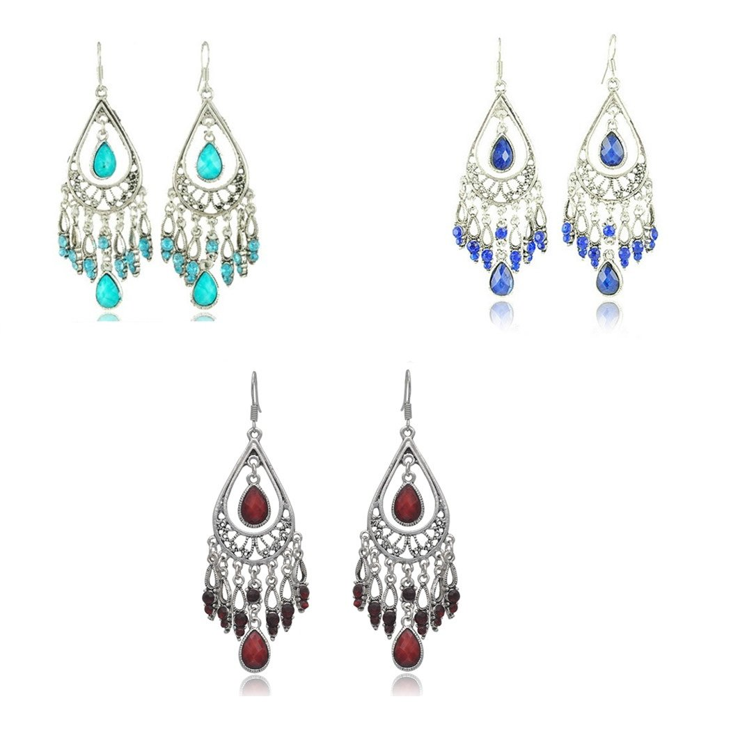 Dazzle Flash Vintage Retro Style Tassels Dangle Earring,Fashion Boho Earrings,EAG080 (3 pair package(red+green+blue)