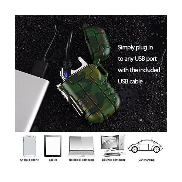 SANShine - Mechero electrónico de Doble Arco con batería de Plasma Recargable, Resistente al Viento, Impermeable y… 4