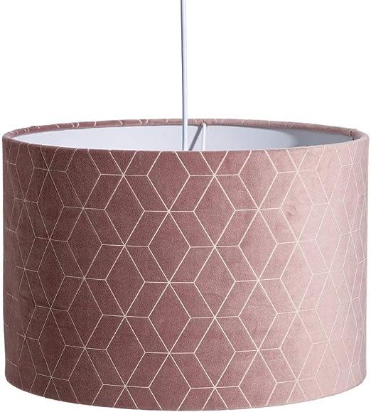 Lámpara de techo contemporánea con pantalla geométrica de terciopelo rosa ø 30 cm - LOLAhome: Amazon.es: Iluminación