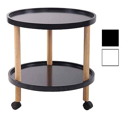 pas mal c3634 54853 CLP Table d'Appoint Odense Plateau Ronde en MDF I Table Basse de Salon avec  roulettes 2 Plateaux de Rangement I Couleur : Noir