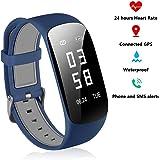 Fitness Tracker HR–24ore cardiofrequenzimetro bracciale IP67impermeabile fitness tracker orologio con contapassi orologio cronometro con collegamento GPS Bluetooth contapassi per bambini donne uomini