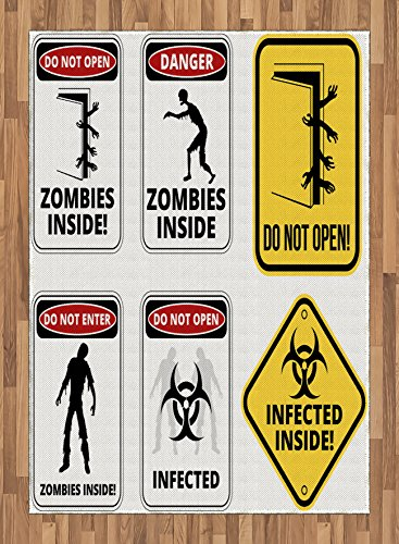 Zombie Area Rug by Ambesonne, Warning Signs for Evil Creatures Paranormal Construction Design Do Not Open Artwork, Flat Woven Accent Rug for Living Room Bedroom Dining Room, 5.2 x 7.5 FT, Multicolor by Ambesonne