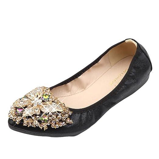 8c714192c56dc DENER Women Ladies Girls Flat Shoes, Crystal Slip on Low Heel Wide ...