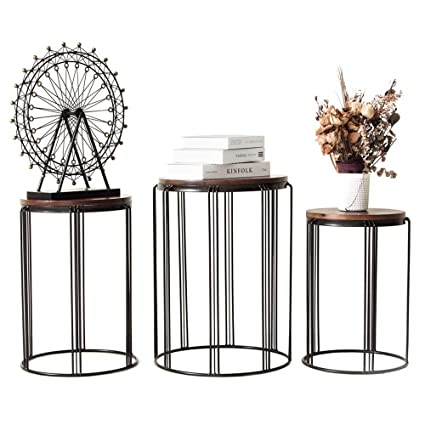 Pleasing Amazon Com Ym Round Metal Garden Stool Side Table For Ncnpc Chair Design For Home Ncnpcorg