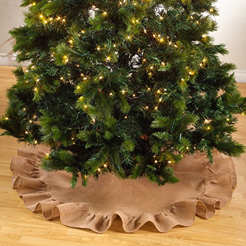 Holiday DÃcor Ruffle Trim Jute Burlap Xmas Tree Skirt, 53-inch Round (Natural) by fenncostyles.com (Tree Burlap)