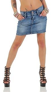 11157 Fashion4Young Blue Denim Rock   Damen Jeansskirt Jeansrock Minirock  Jeans Mini Rock e1cd1a3ae5