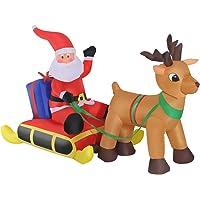 HOMCOM Decoración Navideña Inflable Papá Noel con Reno