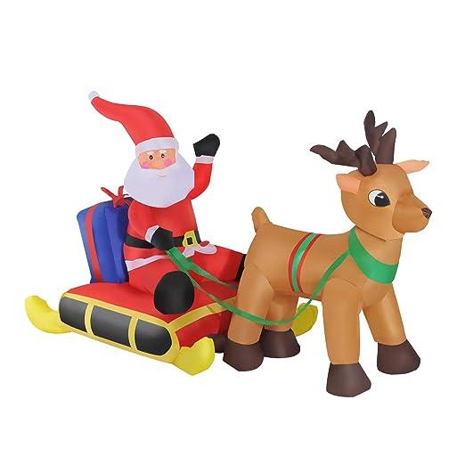 Papa Noel con Reno Hinchable + Inflador y Luz LED Decoracion Navidad Inflable