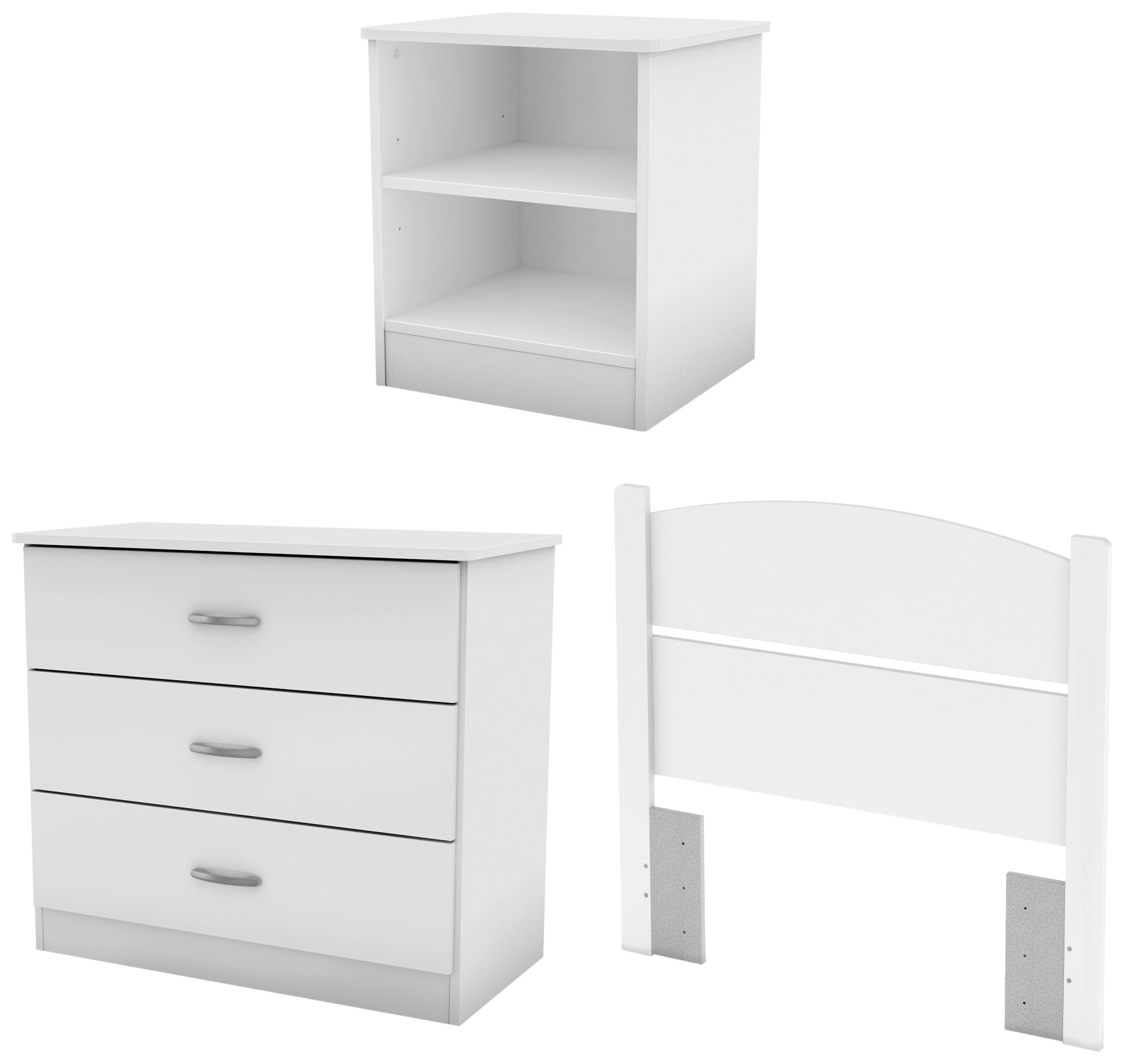 South Shore Libra 3-Piece Bedroom Set with Dresser, Nightstand, and Twin Headboard, Pure White by South Shore