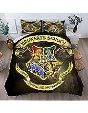 CCBZLY (Harry Potter) zestaw pościeli, poszewka na kołdrę i poszewka na poduszkę, zestaw pościeli z odznaką na magiczną szkół/akademię, miękka mikrofibra