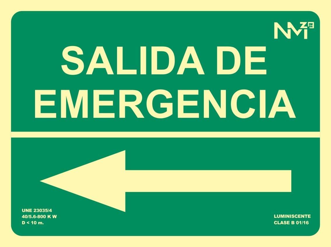 Normaluz RD14111 Se/ñal Luminiscente Salida De Emergencia Izquierda Clase B PVC 0,7mm 22,4x30cm con CTE RIPCI y Apto para la Nueva Legislaci/ón