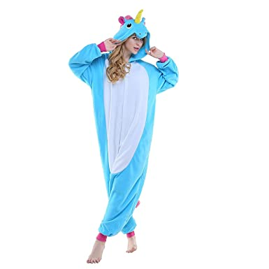 Adult Unisex Blue Unicorn Animal Kigurumi Pajamas Cosplay Birthday Party WearLake BlueSmall