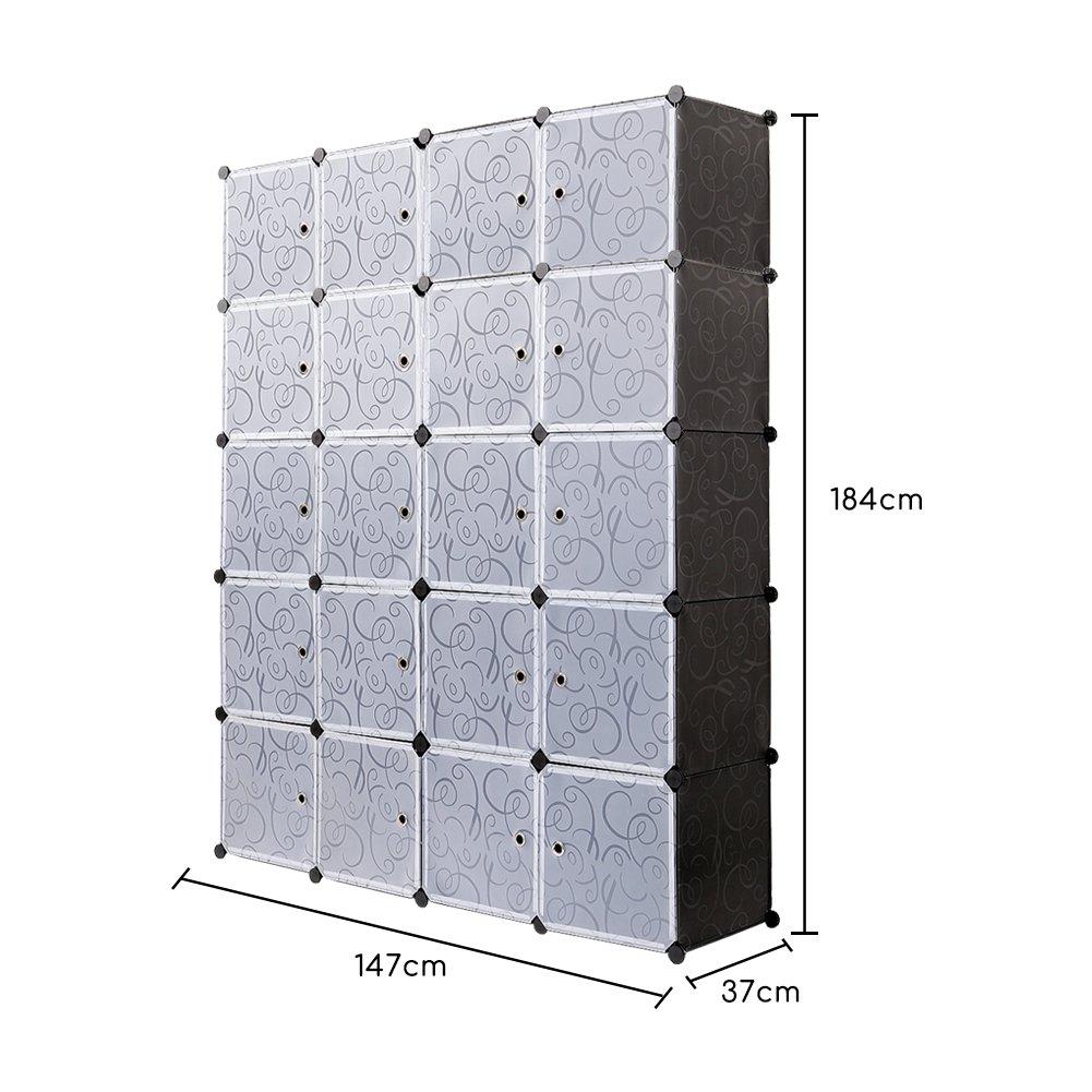 12 Cubo PONCTUEL ESCARGOT Armario Pl/ástico Opaco Ropero Estante Organizador Portable Aparador Gran Espacio con Dibujos de Estilo Cl/ásico Blanco y Negro