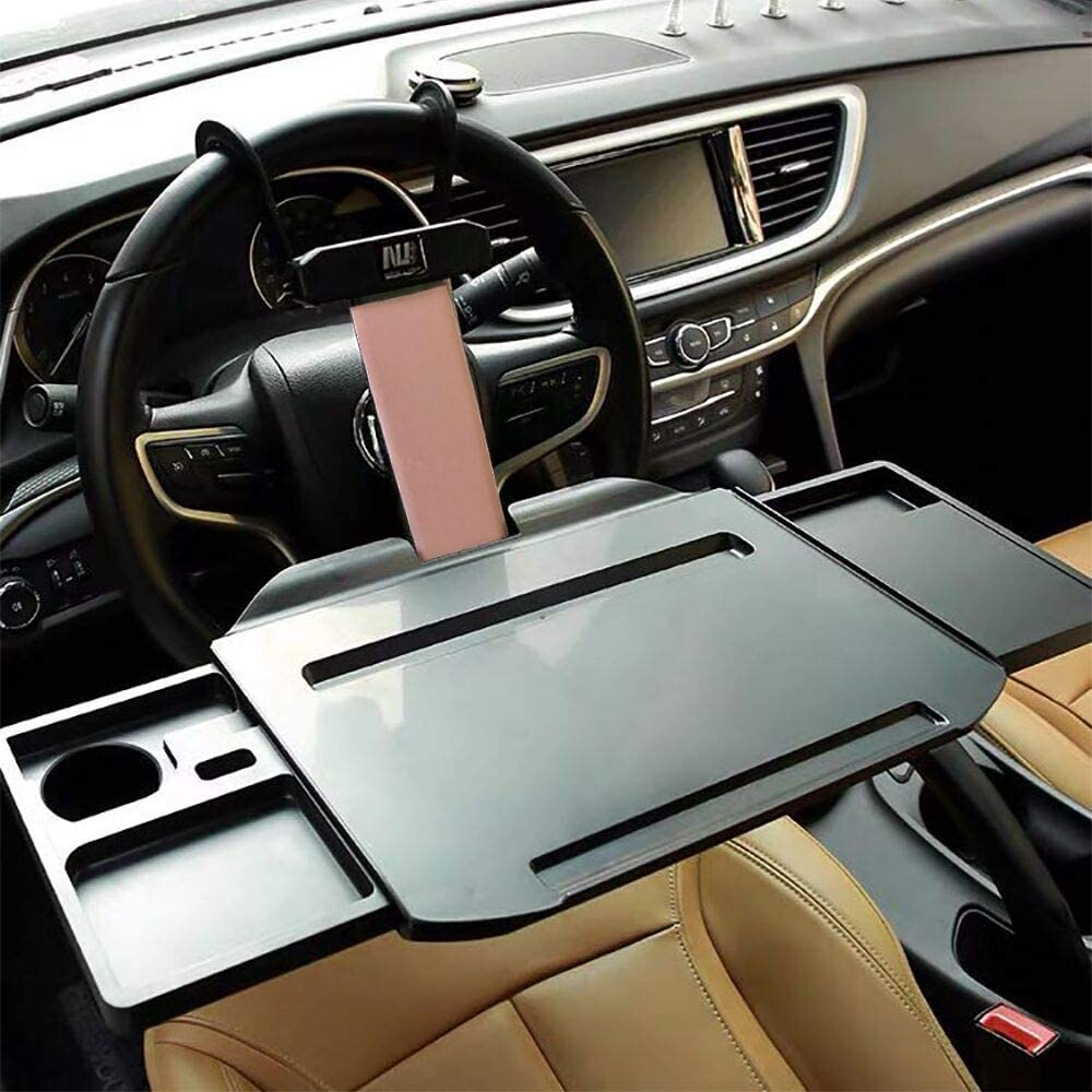 UILB Multi-Function Car Computer Desk Folding car Dining Table Laptop Computer Desk Office Small Table Board with Mobile Phone Bracket Fast Folding car Desk Two Way Wheel and Backseat