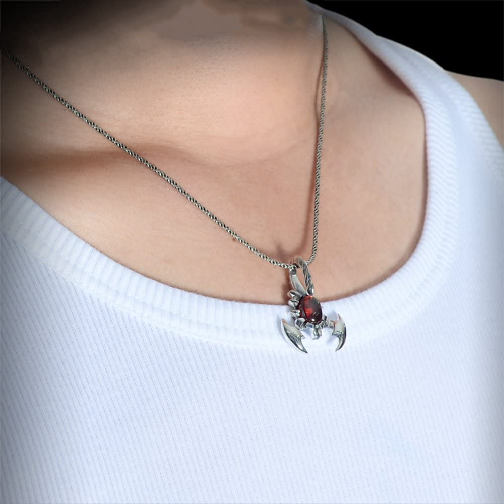 MetJakt Scorpion Pendant Necklace with Garnet and Silver Snake Chain for Scorpio Mens Punk Jewelry