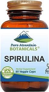 Spirulina Capsules - 90 Kosher Vegan Caps - Now with 450mg Organic Spirulina Powder - Nature's Superfood Supplement