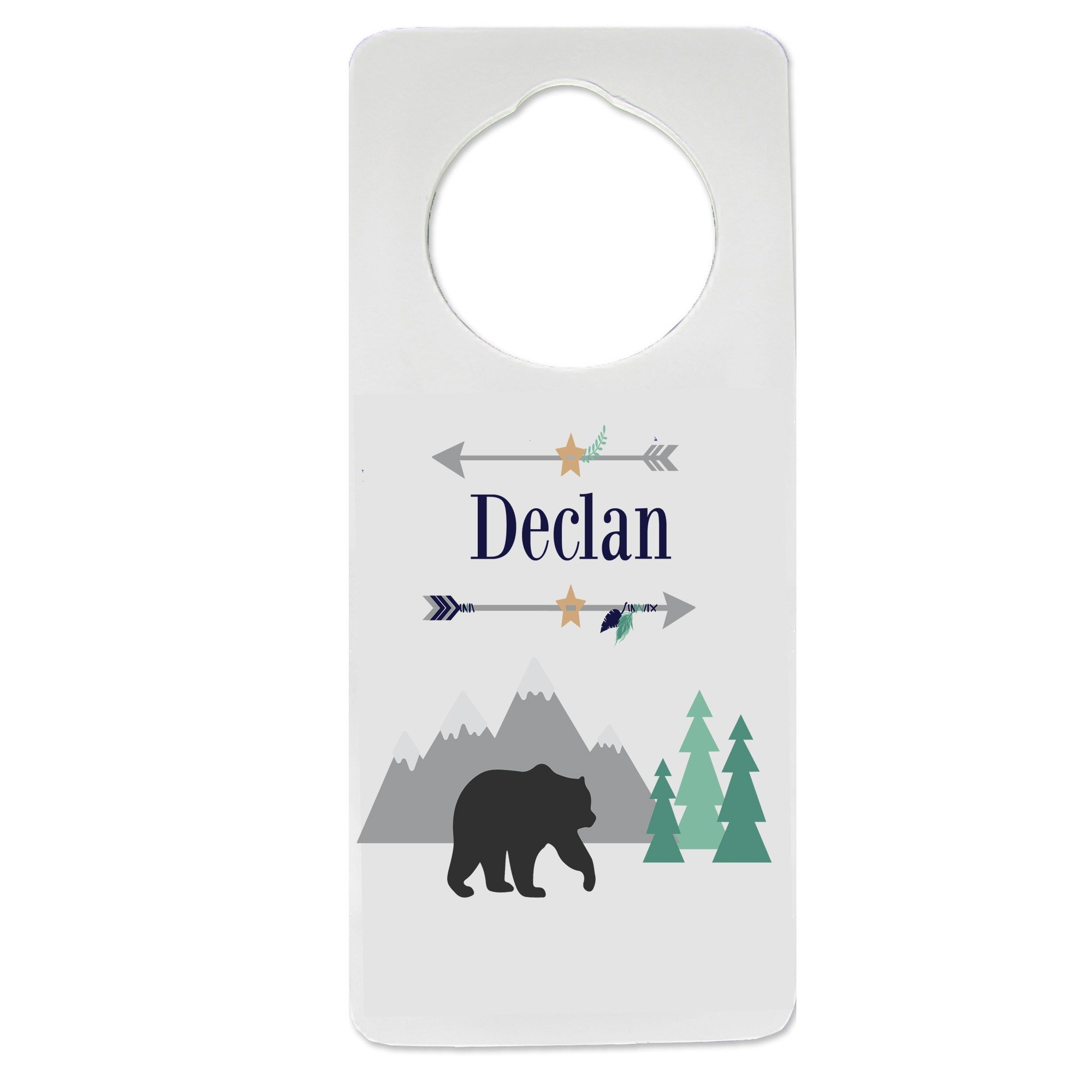 Personalized Mountain Bear Nursery Door Hanger