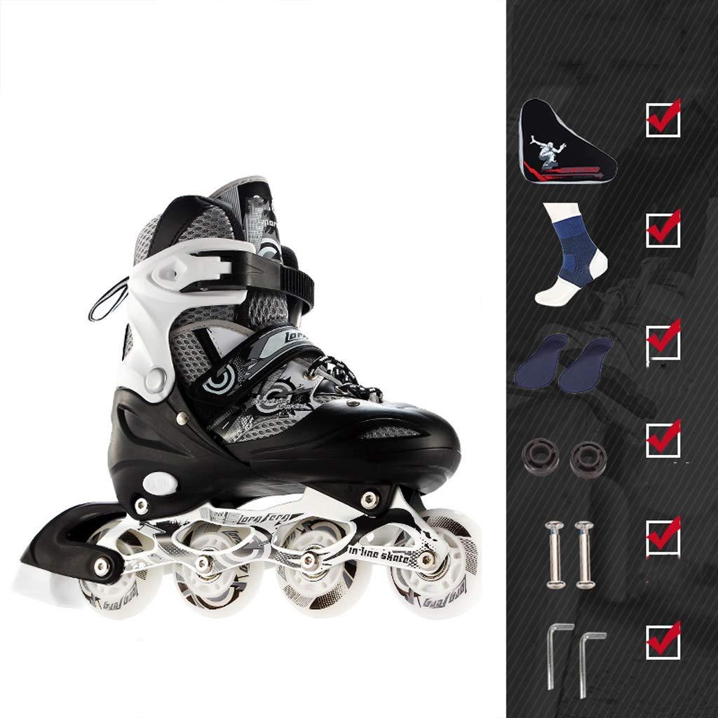 YANGXIAOYU インラインスケート、調節可能なサイズフルフラッシュホイール若者大人初心者5色に最適 B07QKCSM7N 39-42 白黒 白黒 39-42