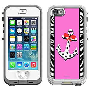 Skin Decal for LifeProof Nuud Apple iPhone 5 Case - Anchor on Pink Zebra