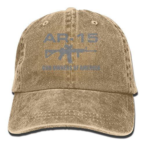 Vintage Cotton Denim Cap Baseball Hat Gun of American AR-15 Six-Panel Adjustable Trucker Dad Hat for Adults Unisex (Best Drum Magazine For Ar15)