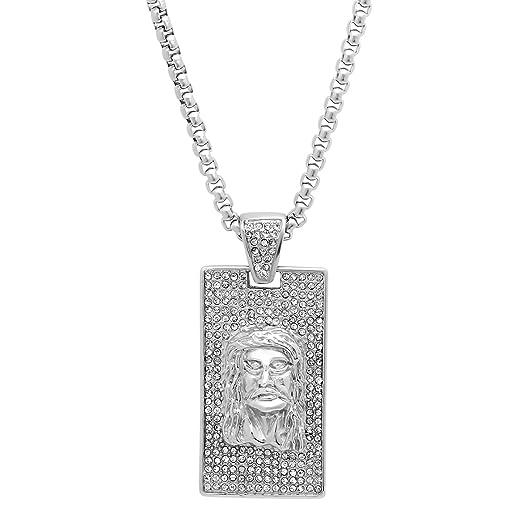 Amazon mens stainless steel jesus head pendant with simulated mens stainless steel jesus head pendant with simulated diamonds aloadofball Gallery