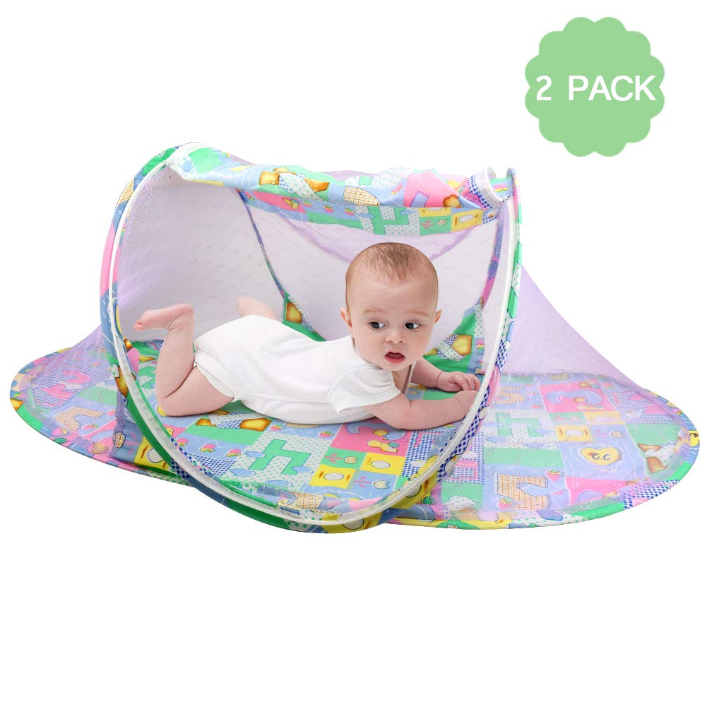 OBloved Baby Travel Bed Portable Folding Baby Crib Mosquito Net Foldable Baby Cots Breathable Newborn Play Pop up Tent, 2 Pack