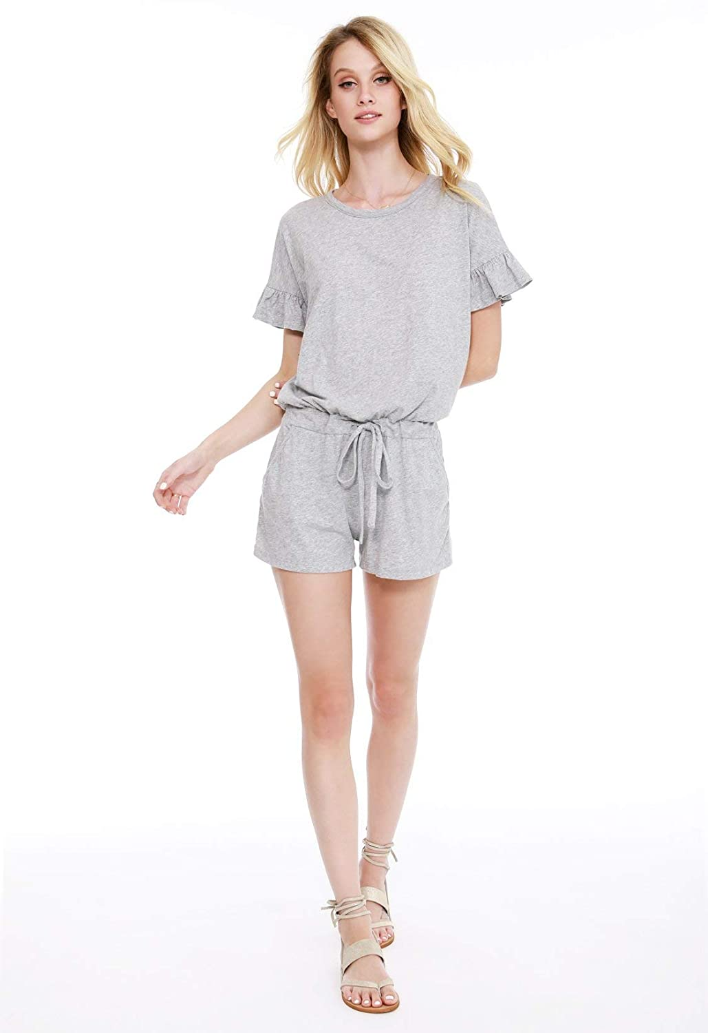 95a758a4cb18 Amazon.com  bobi Ruffle Sleeve Romper  Clothing