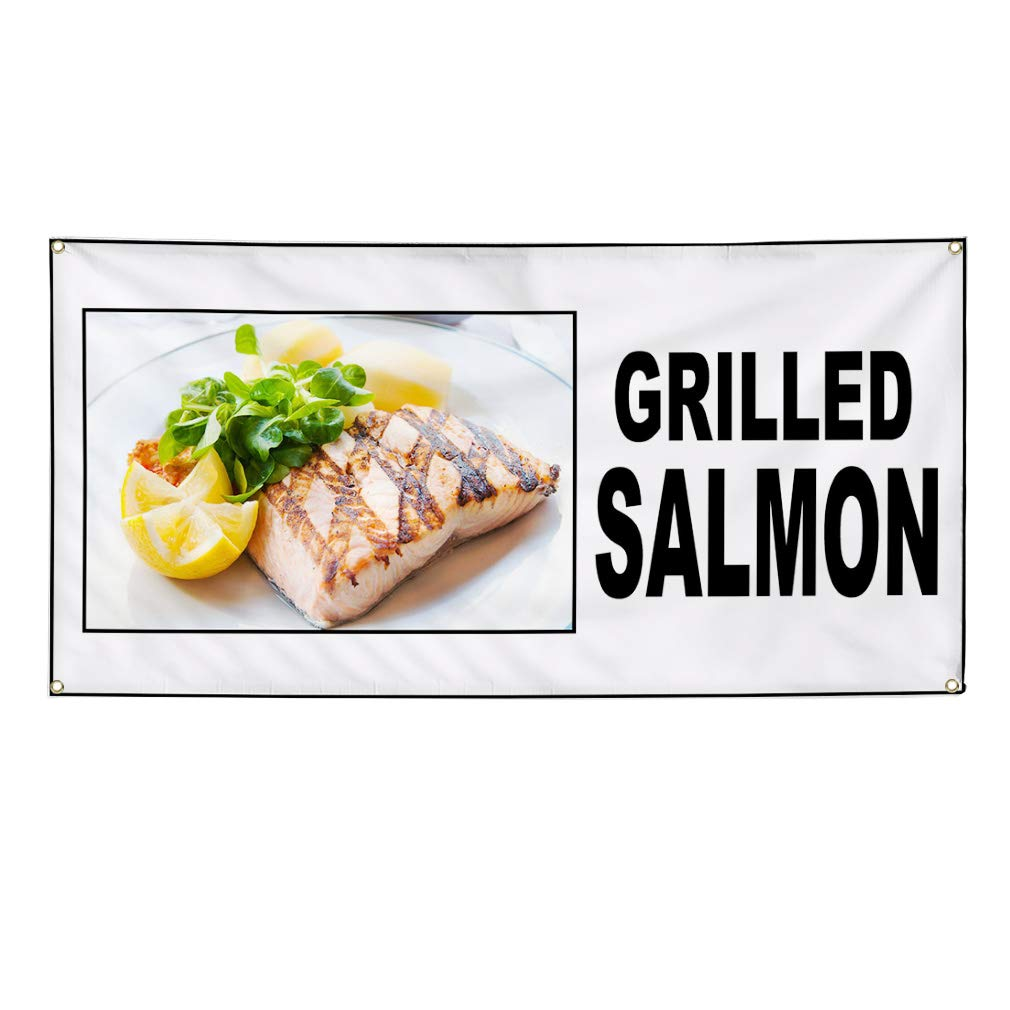 Vinyl Banner Sign Grilled Salmon Food Fair Restaurant Cafe Market Marketing Advertising - 40inx100in (Multiple Sizes Available), 8 Grommets, Set of 2 by Sign Destination