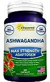 Pure Ashwagandha Supplement - 180 Capsules, Max Strength Ashwaganda Extract Root Powder, 100% Natural Withania Somnifera Ayurveda Formula, Herbal Adaptogenic India Ginseng Tablet Pills for Men & Women