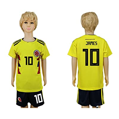 2018 World Cup Colombia Team Home 10 DIY Kids Soccer Jersey&Free Shorts