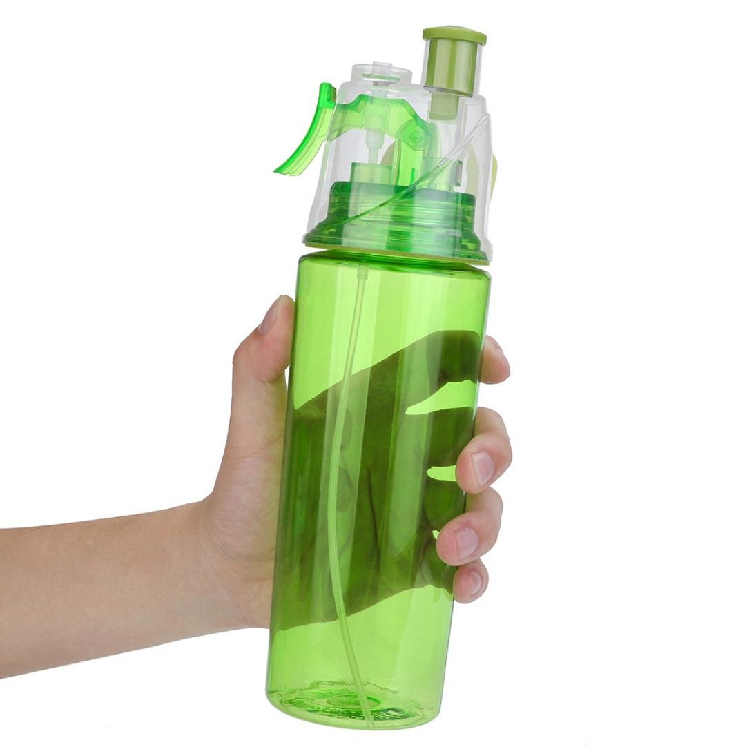 Water Bottle for Men and Women, Iuhan 21 OZ Sport Cycling Mist Spray Water Gym Beach Bottle Leak-proof Drinking Cup (Green)