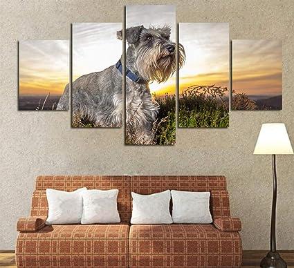 Amazon.com: HNFSSK Schnauzer Lienzo Moderno Animal Pintura ...