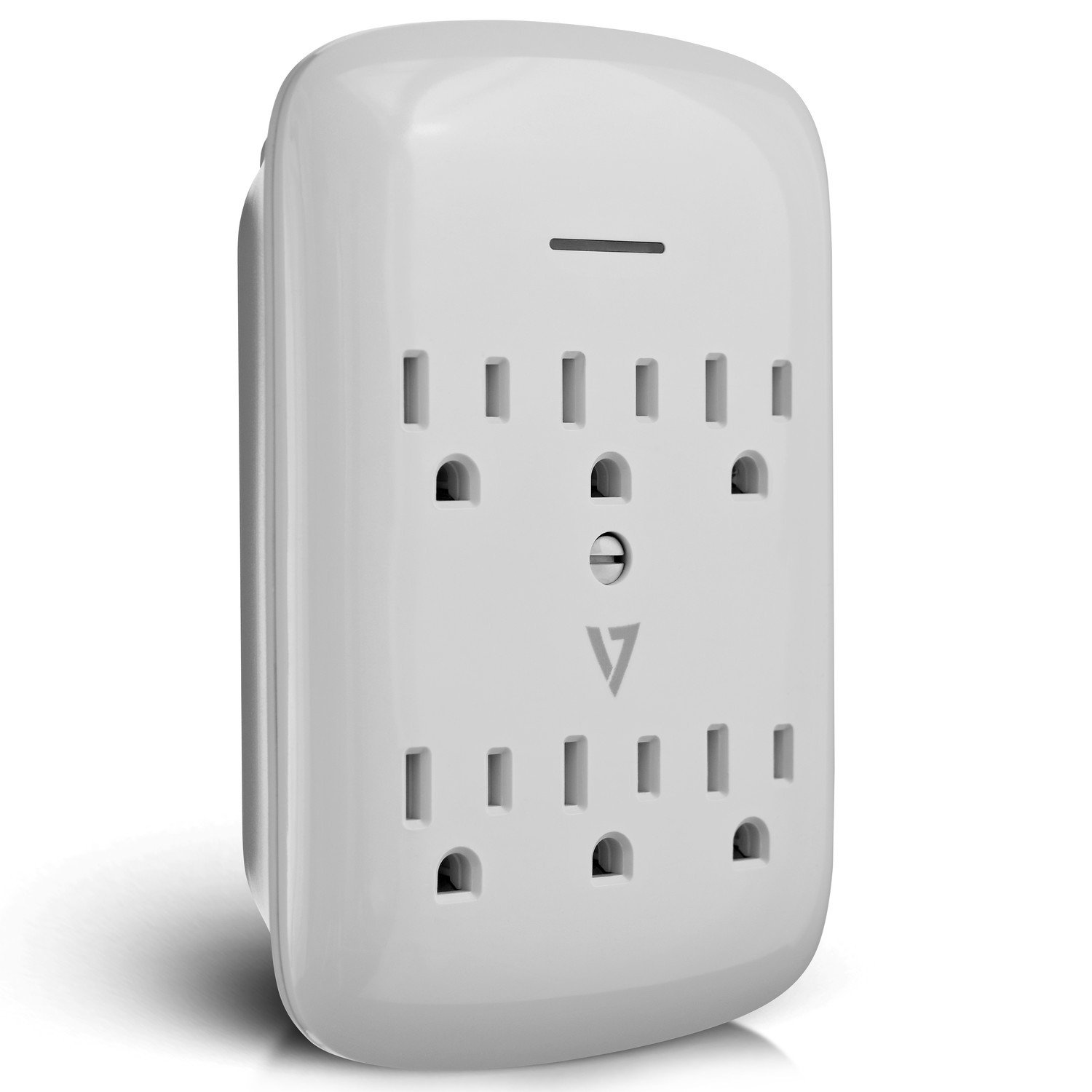V7 SA06WALL-1N 6-Outlet Wall Tap Surge Protector, 1200 Joules – White