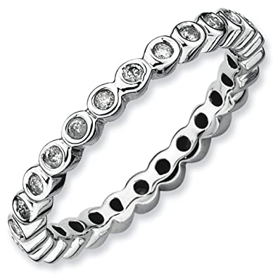 925 Sterling Silver Stackable Expressions Diamond Ring S:6 Jewelry & Watches