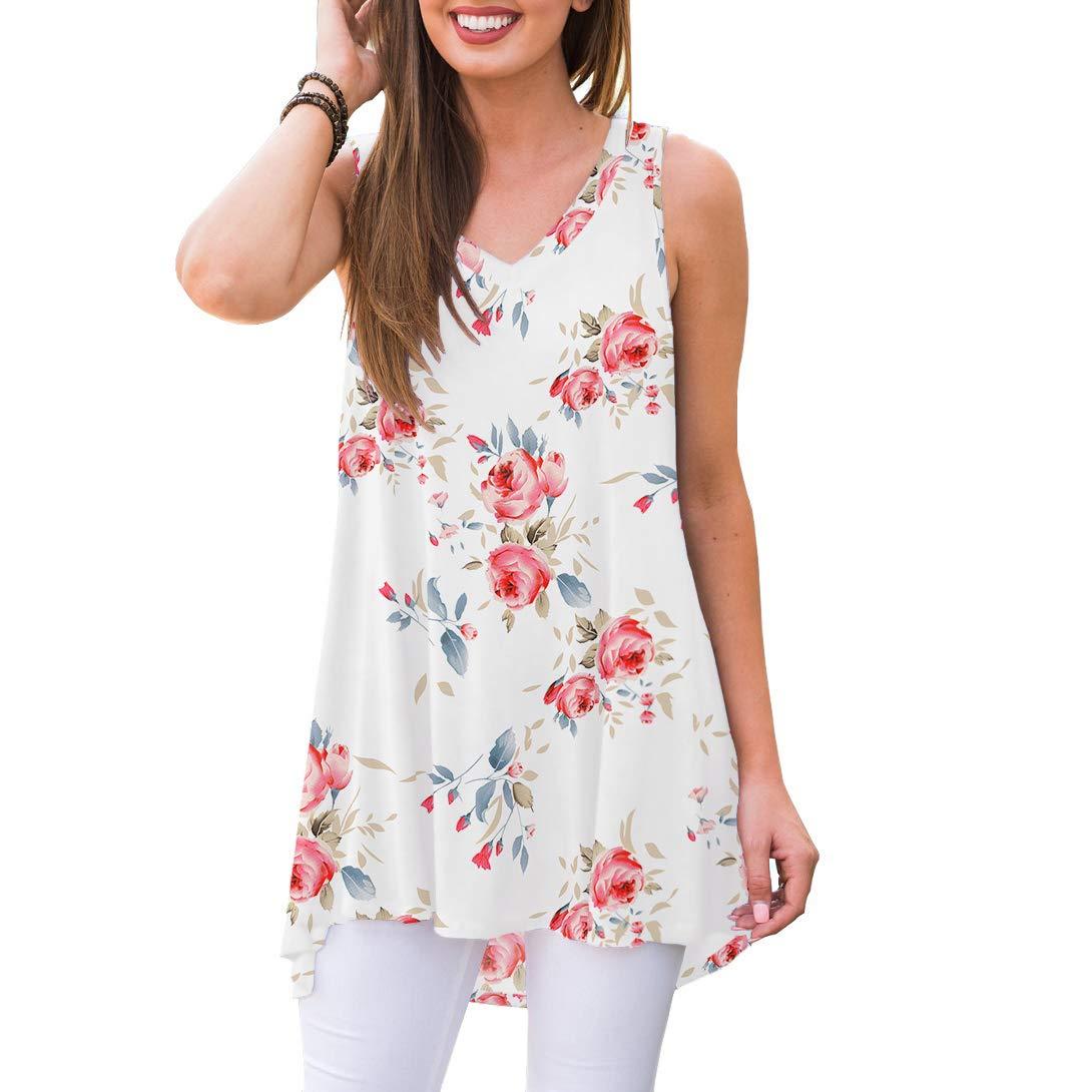 AWULIFFAN Women Summer Sleeveless VNeck TShirt Tunic Tops Blouse Shirts