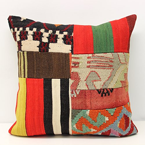 18' Tropical Decor (Decorative Patchwork kilim pillow cover 18x18 inch (45x45 cm) Handmade Kilim pillow cover Office Decor Accent Hand woven Cushion Cover)