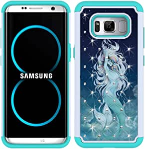 S8 Plus Case, S8+ Case, MagicSky [Shock Absorption] Studded Rhinestone Bling Hybrid Dual Layer Armor Defender Protective Case Cover for Samsung Galaxy S8 Plus / S8+ (Mermaid)
